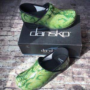 Dansko Clogs size 41 Python Patent green